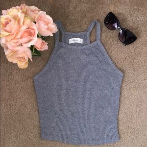 Abercrombie and Fitch: Gray Ribbed Halter Top